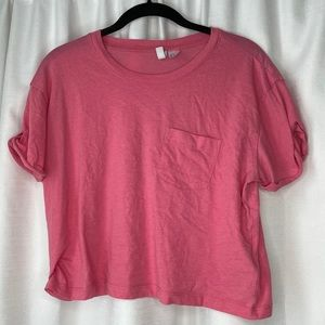 H&M Divided Pink Short Sleeve Crop Top
